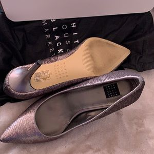 Size 7M WHBM pewter grey sequin heels like new